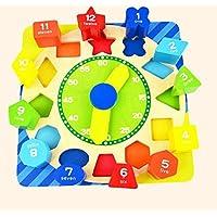 幼児期のゲーム 多色の教育木製時計玩具早期学習時間の数の形状子供のための色の動物の認知玩具