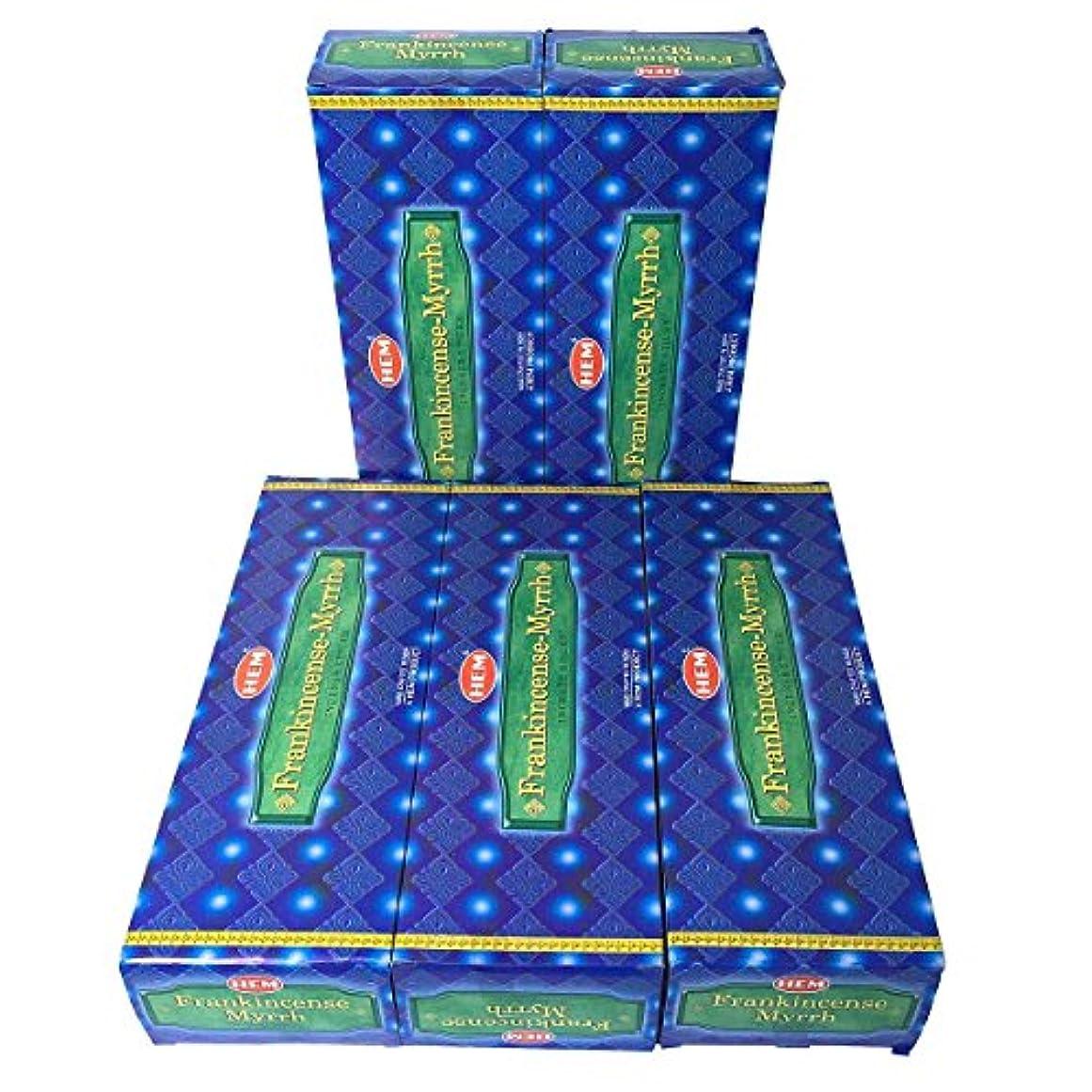 HEM フランキンセンス-ミルラ香 スティック 5BOX(30箱)/HEM FRANKINCENSE MYRRH/ インド香 / 送料無料 [並行輸入品]