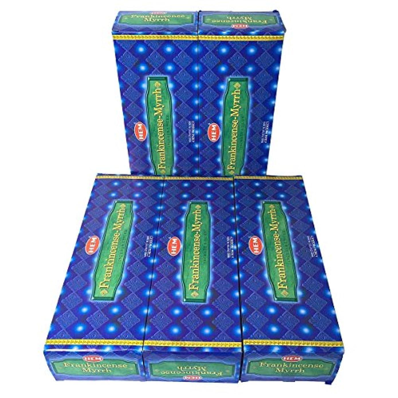 褐色飽和する電気陽性HEM フランキンセンス-ミルラ香 スティック 5BOX(30箱)/HEM FRANKINCENSE MYRRH/ インド香 / 送料無料 [並行輸入品]