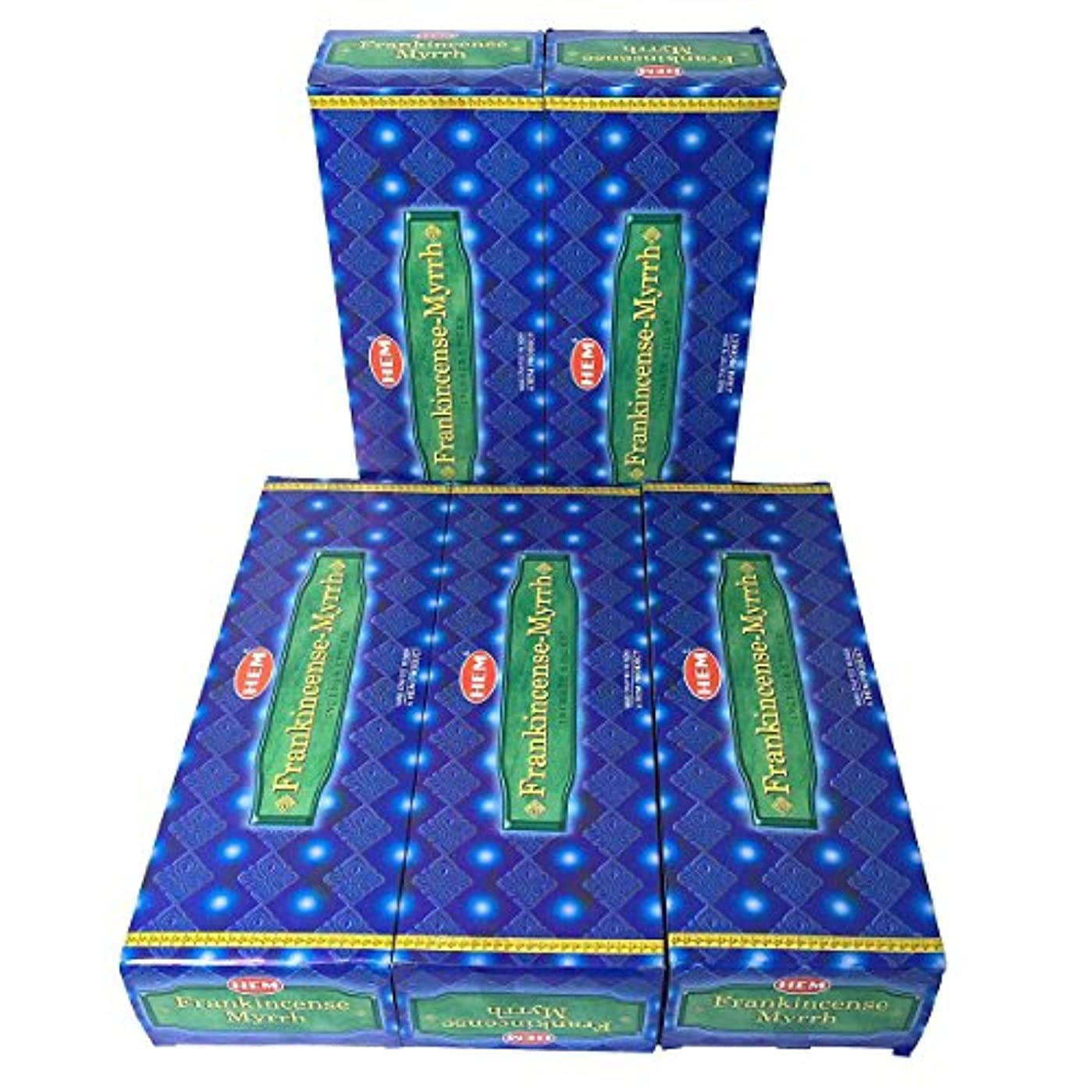 高くこだわり三角形HEM フランキンセンス-ミルラ香 スティック 5BOX(30箱)/HEM FRANKINCENSE MYRRH/ インド香 / 送料無料 [並行輸入品]