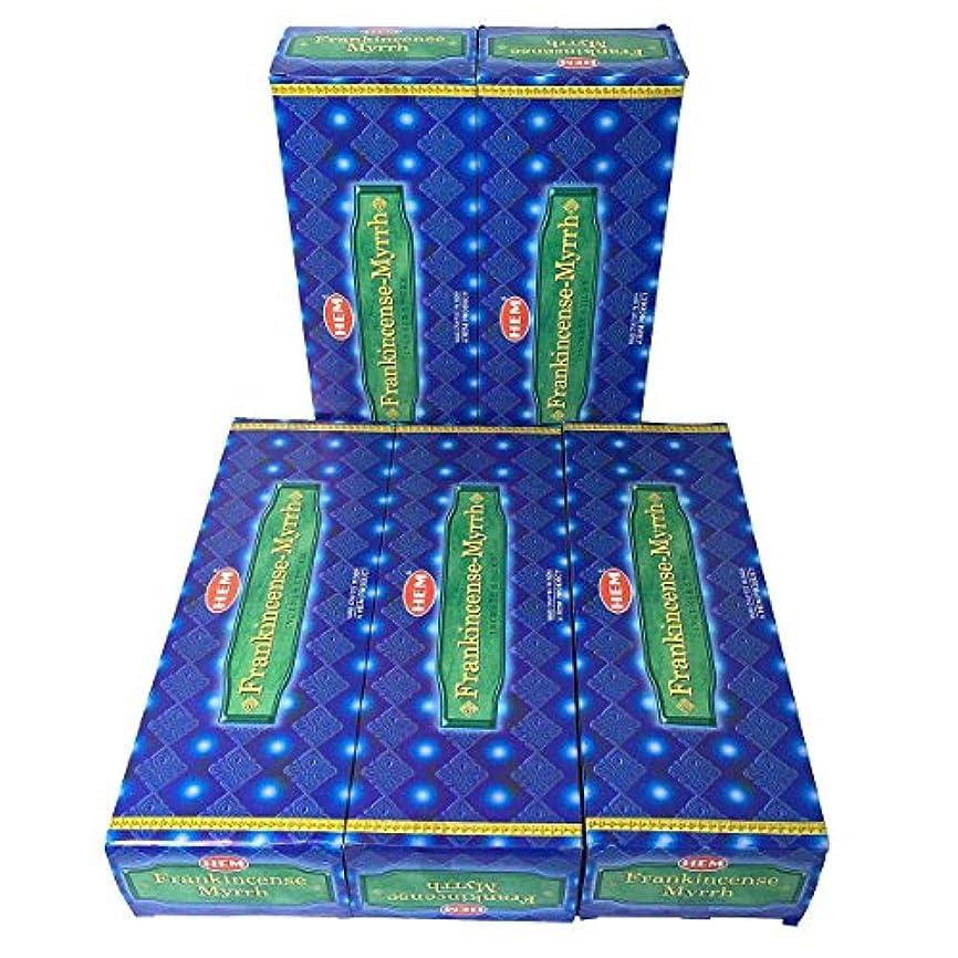 現代の月曜滝HEM フランキンセンス-ミルラ香 スティック 5BOX(30箱)/HEM FRANKINCENSE MYRRH/ インド香 / 送料無料 [並行輸入品]