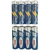 KINSUN 8-Pack Rechargeable Batteries 1.2V Ni-Cd AA 900mAh for Outdoor Solar Garden Lights Landscape Lights Path Lights