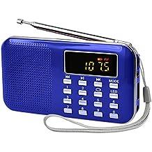 Radioddity L-908 Mini Digital Fm Lcd Radio Speaker, Micro Sd/Tf Usb Disk Speaker Mp3 Music Player Stereo, Portable Pocket Novelty Radio Receiver, Handheld Cb Radio Transceiver, Blue