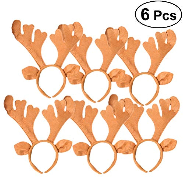 FRCOLOR クリスマス ヘアアクセサリー トナカイ カチューシャ 鹿の角 可愛い ヘアバンド クリスマス パーティー 髪飾り 大人子供兼用 6個セット