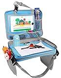 車用バックシート - Zooawa 収納ポケット バックシート 多機能レザー 折りたたみ テーブル子供用 車内テーブル パソコンテーブル おもちゃ 収納 トラベル Light Blue