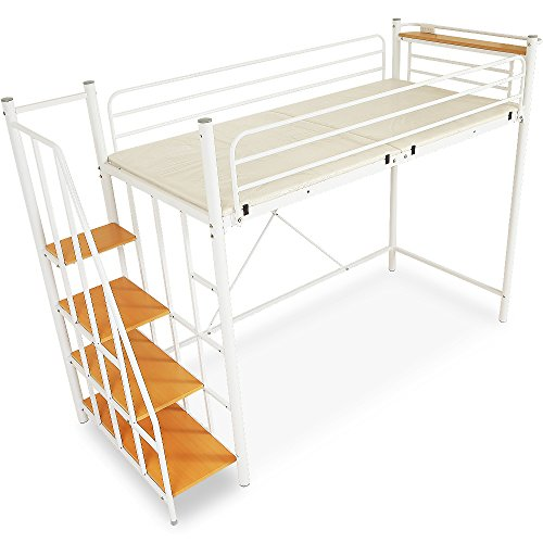 LOWYA (ロウヤ) ロフトベッド 階段 宮 コンセント付 軋み防止マット 極太パイプ パイプベッド シングル ホワイト