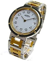 [エルメス]Hermes 腕時計 クリッパー コンビ 白文字盤 BOX watch メンズ 中古