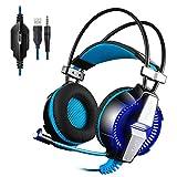 KINGTOP ゲーミングヘッドセットPS4 ヘッドセット 3.5mmステレオゲーミングヘッドフォン 高音質 重低音 LEDライト付き 360度調整可能なマイク付き ヘッドアーム伸縮可能 音量調節機能