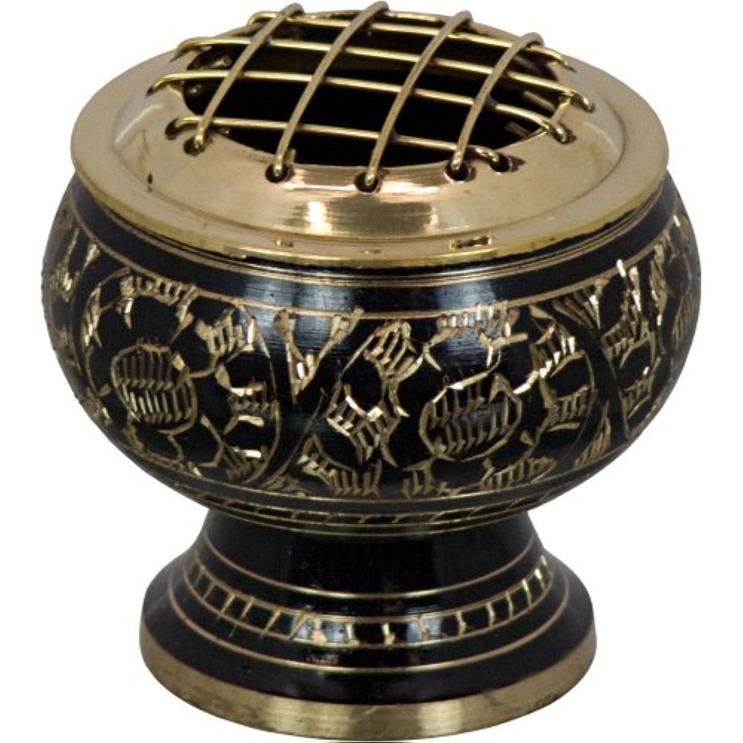 ボーカル思いつくランドマークThe New Ageソース真鍮Incense Burner withグリッドEngraved花BL