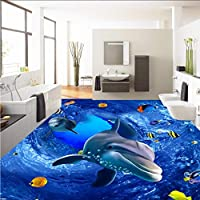 Xueshao 3D Hdマリンワールドイルカ床絵ペーストオフィススタジオロビー自己接着床壁紙壁画-280X200Cm
