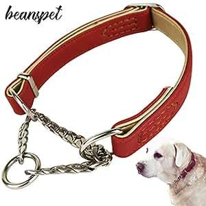 beanspet 犬 ハーフチョーク 2層革 首輪 犬首輪 革 おしゃれ かわいい 大型犬 犬の首輪 いぬ くびわ レザー 犬用品 (S, レッド)