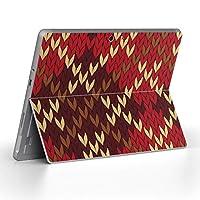 Surface go 専用スキンシール サーフェス go ノートブック ノートパソコン カバー ケース フィルム ステッカー アクセサリー 保護 チェック・ボーダー チェック 赤 ブラウン 004002