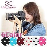 【ラパンカメラ】 可愛い 水玉 6色 カメラストラップ おしゃれ 一眼レフ ミラーレス カメラ かわいい ストラップ 女子 男女兼用 Wine/dot