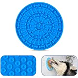 ZOLEN Dog Lick Mat Peanut Butter Lick Pad for Shower, Bath Toy Grooming Accesories for Dogs Training Attachment [Blue]