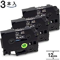 AOYI互換 ピータッチ テープ 黒地 白字 12mm ブラザー tzeテープ TZe-335 黒 ラミネートテープ P-touch pタッチ Tze 335 互換 3本入