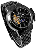 テンプスケルトン リューズカバー 自動巻き 腕時計 ブラック×ガンメタリック サン&ムーン搭載 24時間針 スワロフスキー 黒【並行輸入品】