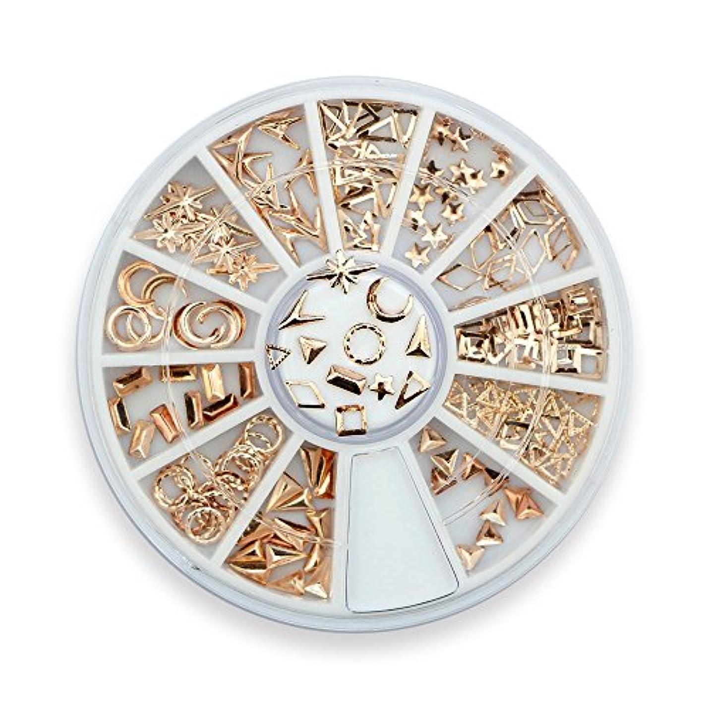 家庭インスタンス注釈Takarafune ネイルアート ネイル パーツ ローズゴールド メタルスタッズ セットビジュー ジェルネイル 3Dネイルデコレーション 12種類