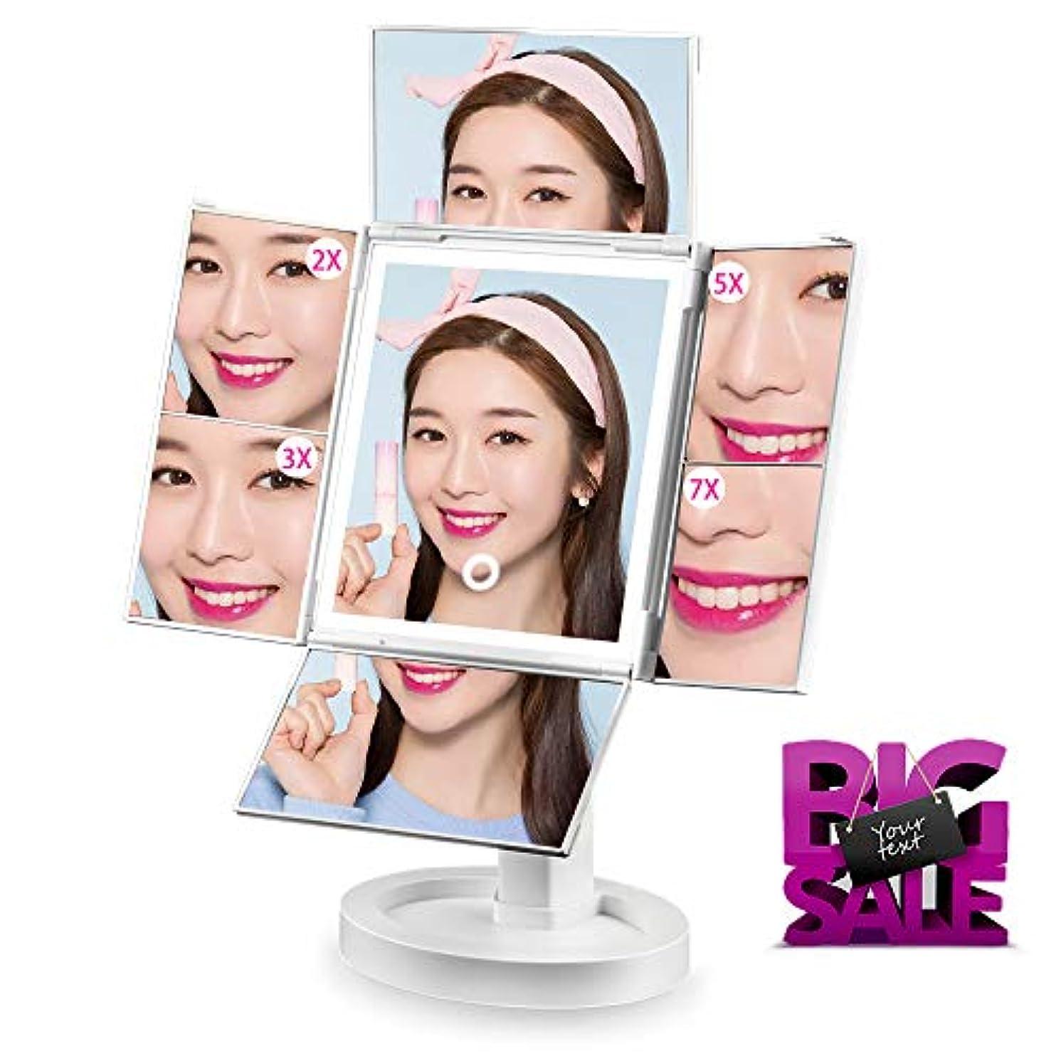 期待して相関するミル化粧鏡 SIX by SIX 化粧ミラー 鏡 四面鏡 女優ミラー 卓上 led付き 折りたたみ 拡大鏡 2&3&5&7倍 明るさ調節可能 180°回転 電池&USB 2WAY給電
