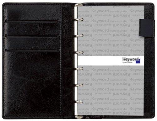 レイメイ藤井 システム手帳 キーワード スリム ポケット ブラック JWP5004B B00KQ9UJG0 1枚目