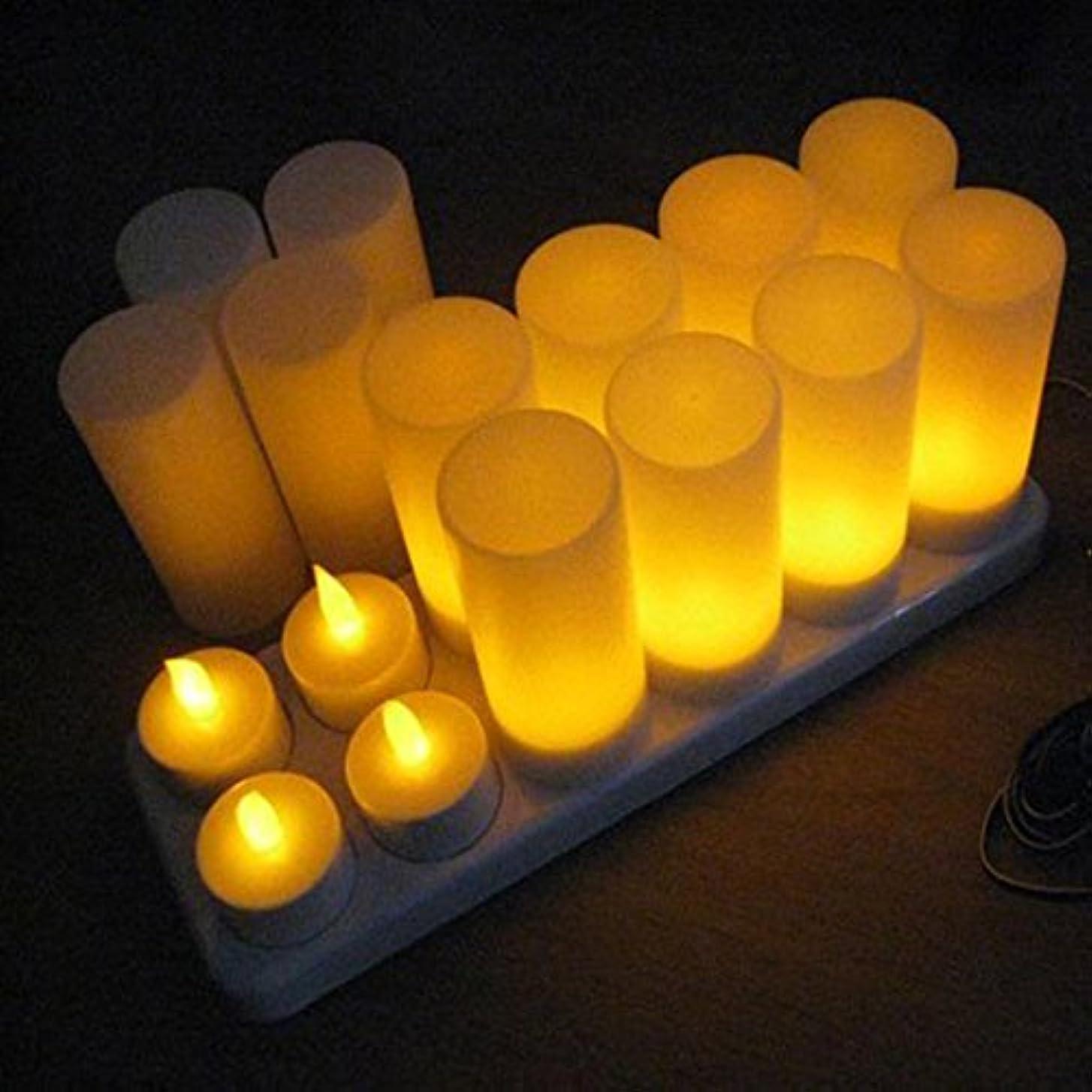 ハロウィン認証製作LEDティーライト キャンドル 再充電可能 リモコン付 カップ付き 照明モード切替 12個セット  (リモコン付, イエロー)