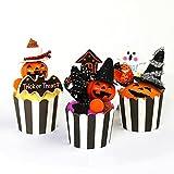ハロウィン装飾 飾り付け 「パンプキンカップケーキアレンジ3個セット 高さ12cm」 デコレーション 演出