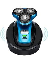 ワイヤレス 充電式 電気シェーバー メンズひげそり 自動研磨 ウェット&ドライ剃り IPX7防水 お風呂剃り可  ブルー