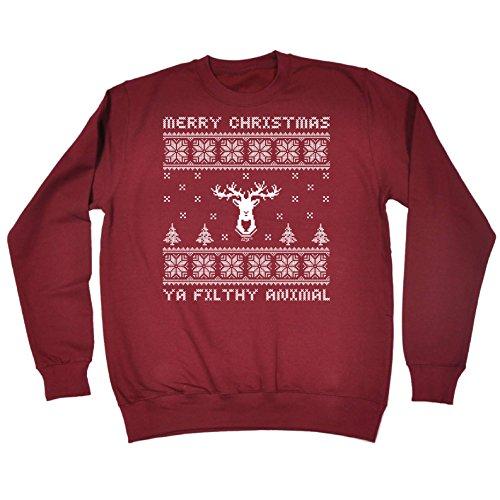 123t Funny Sweatshirt - Ya Filthy Animal Xmas - Birthday Joke Humour tee Gift Present Christmas Novelty Fashion Clothing Jumper