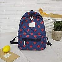 ZHANGYOUDE Star Pattern Double Shoulders School Bag Travel Backpackage Bag (Color:Black Size: + L) (Color : Blue)