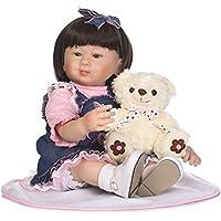 NPK 56 cm Reborn人形ソフトSiliconeビニール人形22インチブラックヘアジーンズスカートLovely Lifelikeかわいいベビー人形ガールおもちゃ美しい服人形