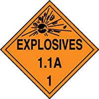 Accuform Signs MPL11VP10 Plastic Hazard Class 1/Division 1A DOT Placard Legend EXPLOSIVES 1.1A 1 with Graphic 10-3/4 Width x 10-3/4 Length Black on Orange (Pack of 10) [並行輸入品]