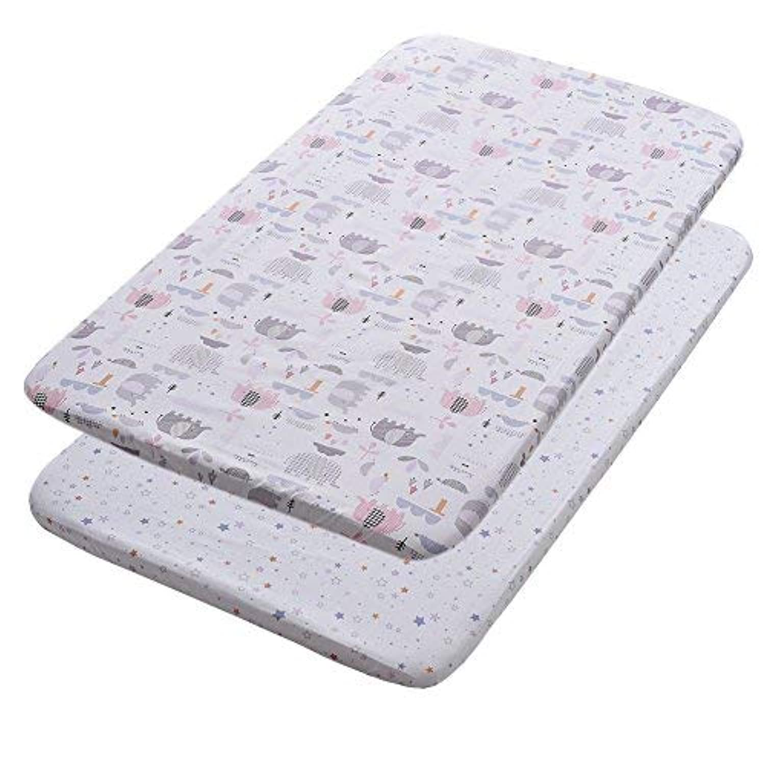 Gina Era Play Portable Crib Sheet Set 100% Jersey Cotton Unisex for Baby Girl and Boy2 Pack(style18) [並行輸入品]