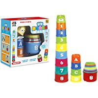 (Letters) - Toddlers Baby Early Educational Toys Nesting & Stacking Up Cups with Letters & Animals Kids Stacker Toy (Letters)