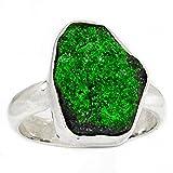 Lovegem 本物の UVAROVITE GREEN GARNET ウバロバイトグリーンガーネット シルバー925リング,USA サイズ:9.25 , AR2068