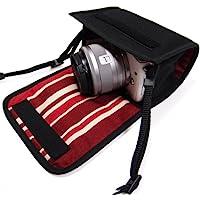 カメラケース ミラーレス キャノンEOS M100 /EOS M10ケース(ブラック・ボルドーストライプ)-カラビナ付 -suono(スオーノ)ハンドメイド