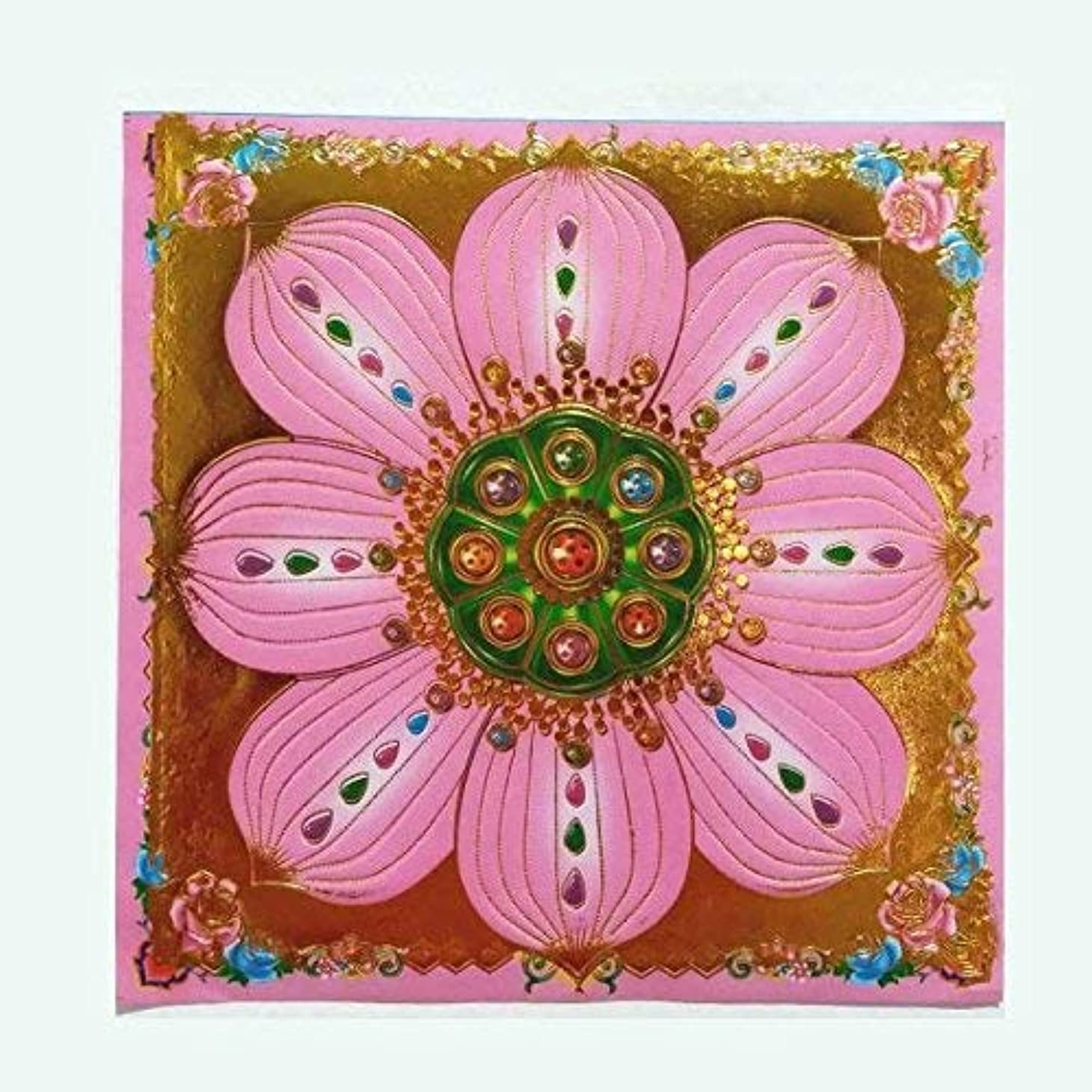 シャークヒョウ豊富40pcs Incense用紙/ Joss用紙ハイグレードカラフルwithゴールドの箔Sサイズの祖先Praying 7.5インチx 7.5インチ(ピンク)