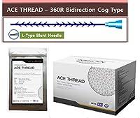 【並行輸入】 ACE PDO Thread lift Korea (リフティング糸 / メソン / 漢方病院針 / 鍼 ) / Ultra V-Lift / Face Lift - 3D-360R Bidirection Cog Type / L-Type Blunt needle (100pcs) (20G60)