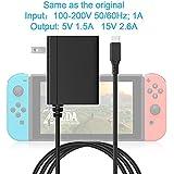 新型 任天堂 Nintendo Switch ACアダプター 任天堂スイッチ充電器、5 FTケーブル付き、オリジナルと同じ-5V 1.5A 15V 2.6A任天堂スイッチ用TVモードとDockステーションをサポート ニンテンドースイッチ ACアダプター
