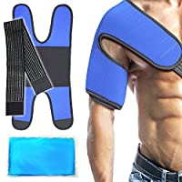Rainbow Microwaveable Gel Hot Cold Pack & Wrap for Heat Ice Therapy (Shoulder, Arm, Knee, Shin, Ankle, 9.6 x 6.1, Blue) by Body Comfor Support