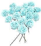 バラ 造花 50個 茎付き 8cm セット 手作り アレンジメント 結婚式 パーティー お祝い に(水色)