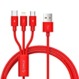 ORICO USBケーブル 3in1データ転送・充電ケーブル Micro B/iphone Lightning/Type-C ケーブル 3A急速充電 ライトニングケーブル iPhone/android 同時給電可 1本3役 iPhone/iPad/Macbook/android 多機種対応 1.2m(赤色)