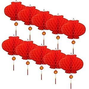10個セット お祭り しょうがつ 提灯 飾り ハニカム ランタン 春節 装飾 縁起のいい 意味が良い、富、幸運、祝福が来る (直径25cm)