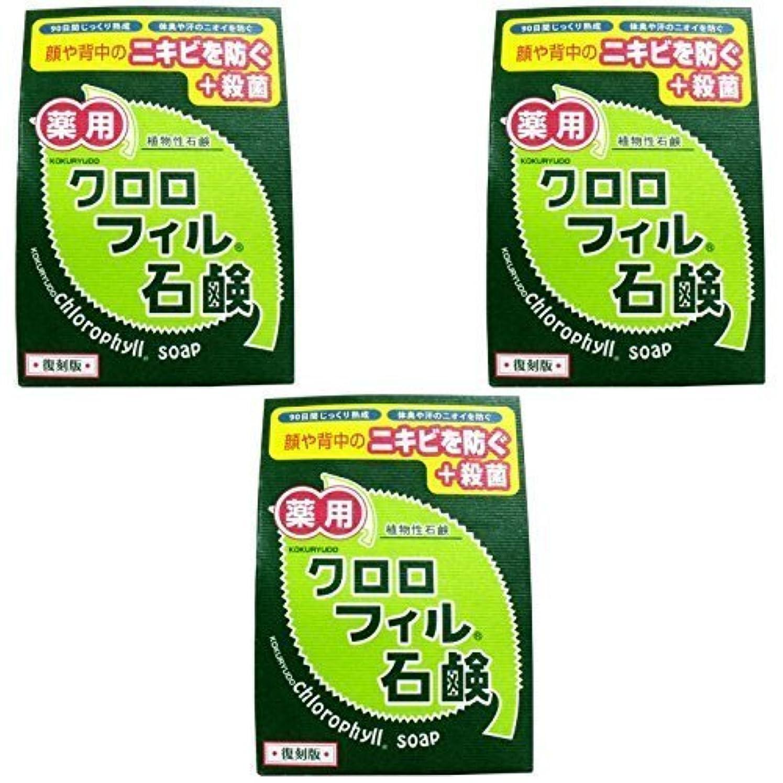 驚いた抹消楽な【まとめ買い】クロロフィル石鹸 復刻版 85g (医薬部外品)【×3個】