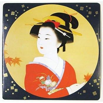 日本のお土産 海外おみやげ コースター コップ敷き 美人画 コーティング無し 6枚入り