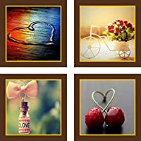 Go Hooked Digital Wall Painting (Wood, 22.5 cm x 22.5 cm x 1.2 cm, Set of 4, 9x9PNTNG402)