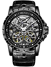 OBLVLO すべてのブラックミリタリーウォッチトゥールビヨン透明自動時計レザーストラップ OBL3606