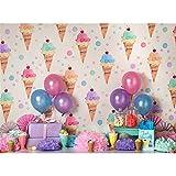 ML写真バックドロップ幼児7x 5写真背景アイスクリームカラフルドットHappy誕生日パーティー男の子と女の子の背景に誕生日バナー背景