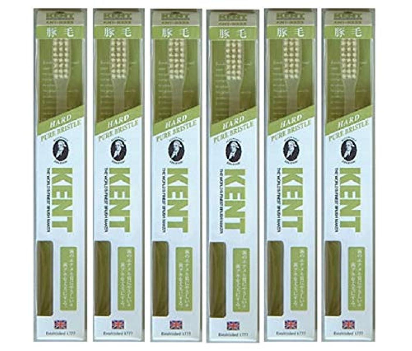 チューブ不愉快に規定【6本セット】KENT 豚毛歯ブラシ KNT-9333 ラージヘッド かため