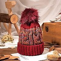 冬のニット帽子、女性プラスふわふわボールキャップ、防風暖かいイヤーマフ、A5、58CM