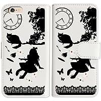 sslink iPhone6s 4.7インチ 手帳型 ホワイト ケース Alice in wonderland(ブラック) アリス 猫 トランプ ダイアリータイプ 横開き カード収納 フリップ カバー