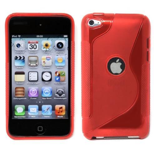 iPod Touch4 TPU Sデザインソフトケースカバー 液晶保護フィルム&クリーナー1セット付属 レッド(赤)